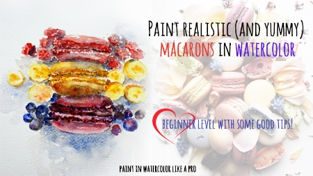 Watercolor macaroons step by step. Welcome to France!