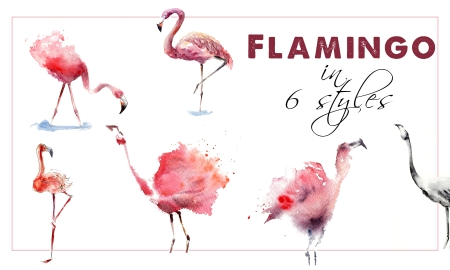 Watercolor Workbook: Paint Flamingo in 6 Different Styles