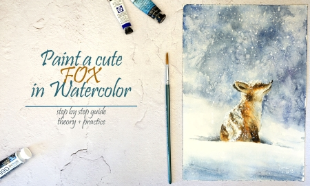 Paint a Cute Fox in Snowfall Step by Step