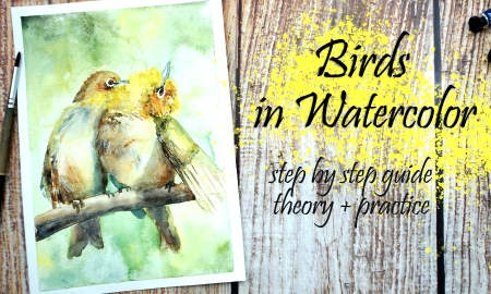 Watercolor Painting: Cute Birds in Mixed Style